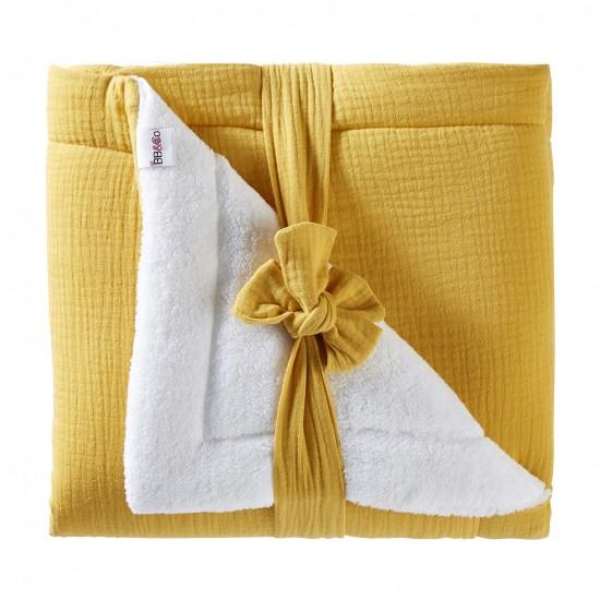 Couverture peluche double gaze & microfibre Mix & Match moutarde - Couvertures & Plaids par BB&Co