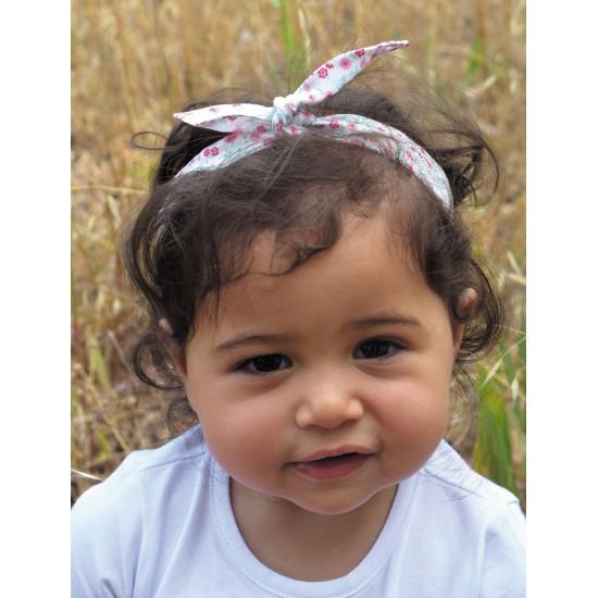 Bandeau à nouer liberty blanc/rose - Accessoires Cheveux par BB&Co