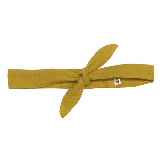 Bandeau à nouer gaze uni moutarde - Accessoires Cheveux par BB&Co