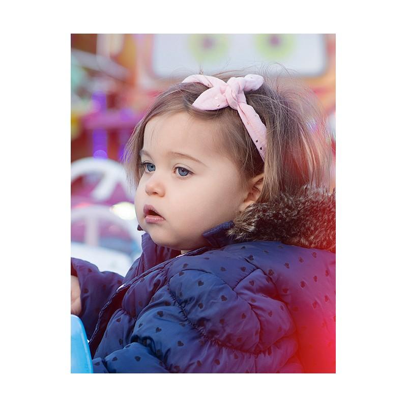 Bandeau à nouer gaze rose blush pois or - Accessoires Cheveux par BB&Co