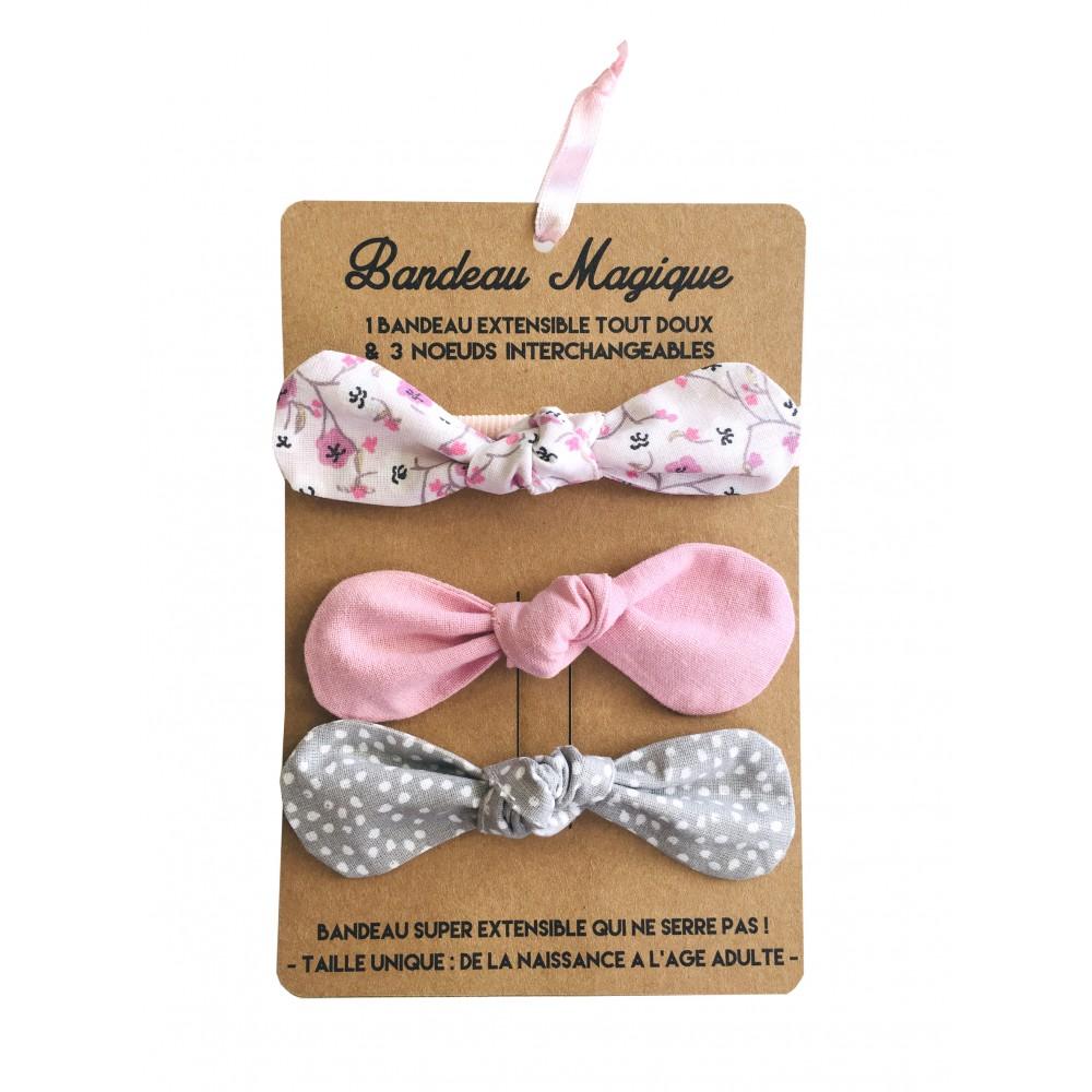 Bandeau magique (1 bandeau extensible + 3 nœuds) - assortiment romantique - Accessoires Cheveux par BB&Co