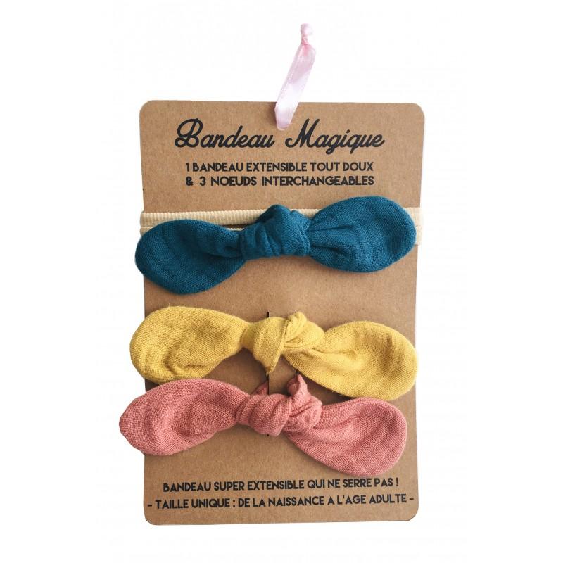 Bandeau magique (1 bandeau extensible + 3 nœuds) - assortiment tendance - Accessoires Cheveux par BB&Co