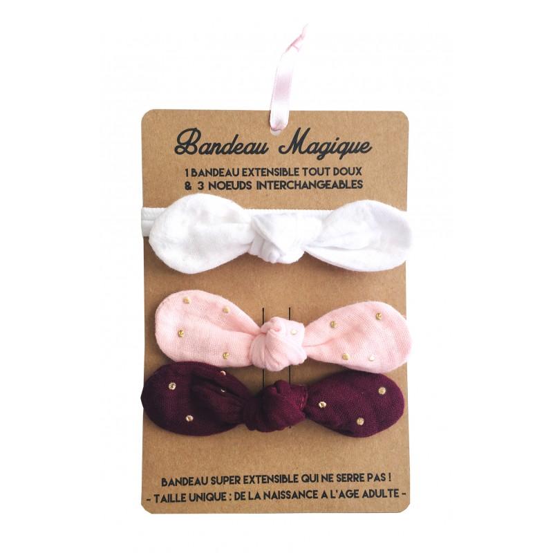 Bandeau magique (1 bandeau extensible + 3 nœuds) - assortiment chic - Accessoires Cheveux par BB&Co