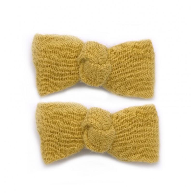 Lot 2 barrettes clic clac gaze uni moutarde - Accessoires Cheveux par BB&Co
