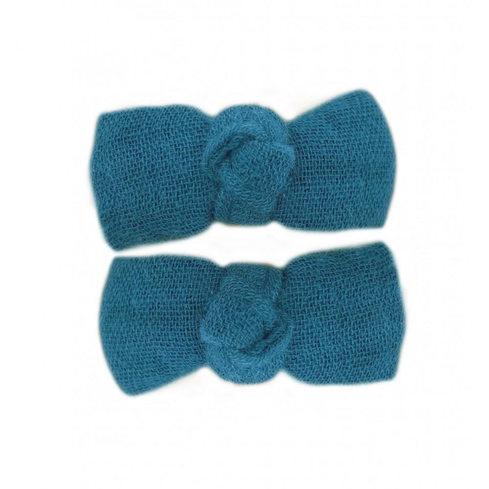 Lot 2 barrettes clic clac gaze uni vert paon - Accessoires Cheveux par BB&Co