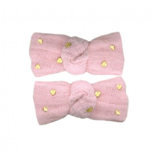 Lot 2 barrettes clic clac gaze rose blush pois or - Accessoires Cheveux par BB&Co