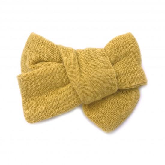 Grande barrette anti-glisse double gaze moutarde - Accessoires Cheveux par BB&Co