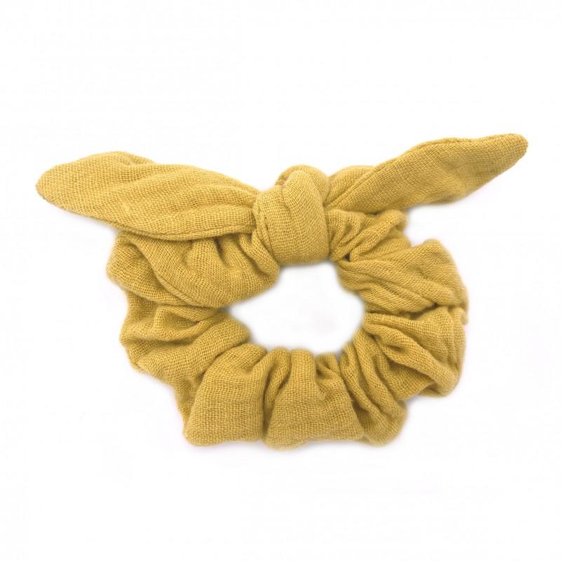 Chouchou avec nœud gaze uni moutarde - Accessoires Cheveux par BB&Co