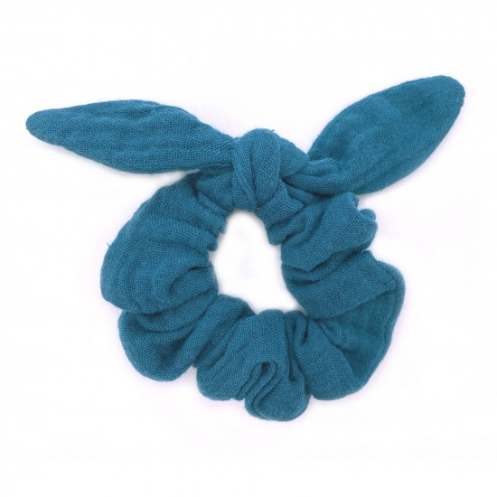 Chouchou avec nœud gaze uni vert paon - Accessoires Cheveux par BB&Co