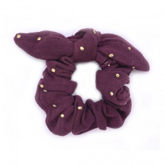 Chouchou avec nœud gaze prune pois or - Accessoires Cheveux par BB&Co