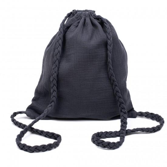 Sac à dos en gaze de coton avec bretelles tressées gris foncé - Sacs enfants par BB&Co