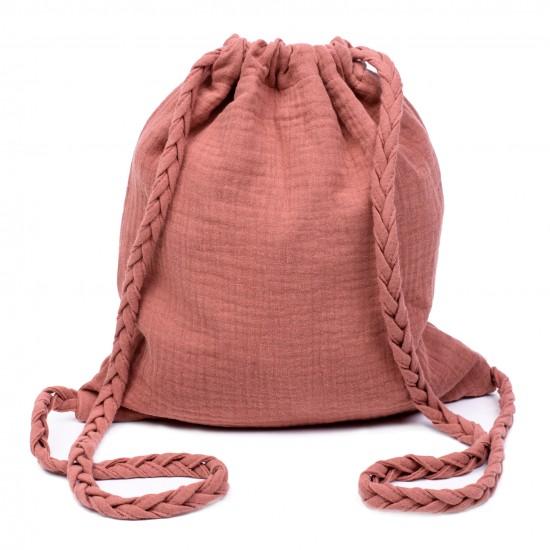Sac à dos en gaze de coton avec bretelles tressées marsala - Sacs enfants par BB&Co