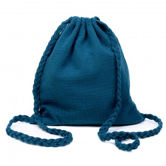 Sac à dos en gaze de coton avec bretelles tressées vert paon - Sacs enfants par BB&Co