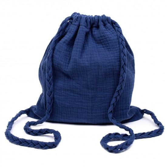 Sac à dos en gaze de coton avec bretelles tressées indigo - Sacs enfants par BB&Co