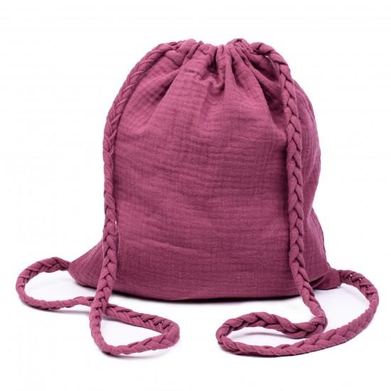 Sac à dos en gaze de coton avec bretelles tressées framboise - Sacs enfants par BB&Co