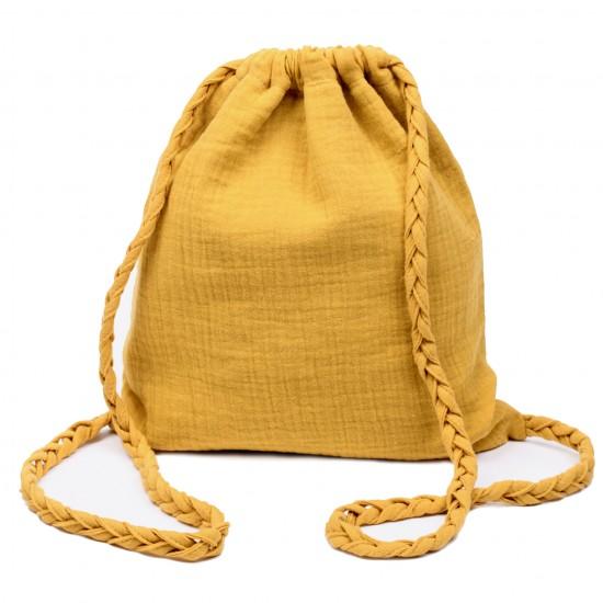 Sac à dos en gaze de coton avec bretelles tressées moutarde - Sacs enfants par BB&Co