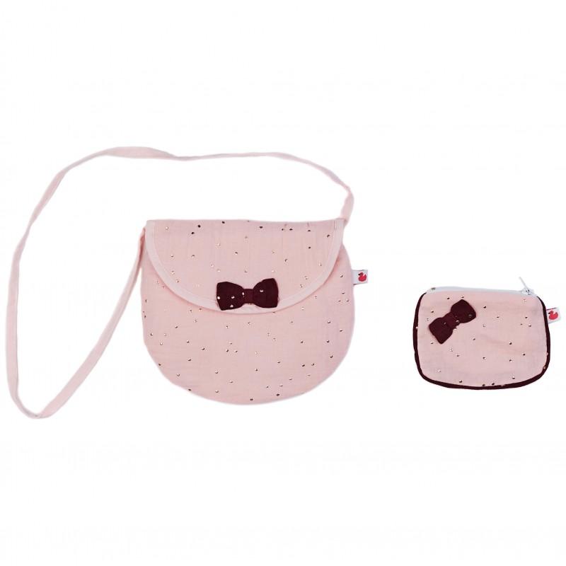 Sac à bandoulière + porte-monnaie assorti blush/prune pois or - Sacs enfants par BB&Co