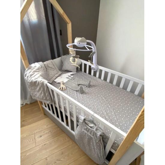Drap housse 70 x 140 cm étoiles gris/blanc - Draps et parures de lit par BB&Co