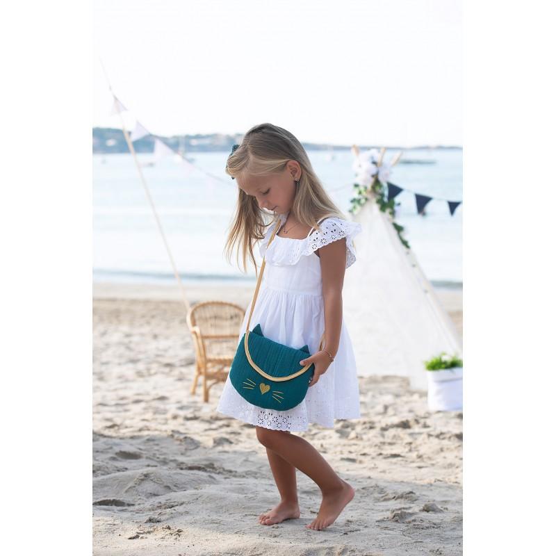 Sac bandouilère + porte-monnaie Chat gaze vert paon/or - Sacs enfants par BB&Co