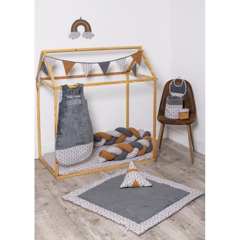 Drap housse 70 x 140 cm gris/blanc/camel - Draps et parures de lit par BB&Co