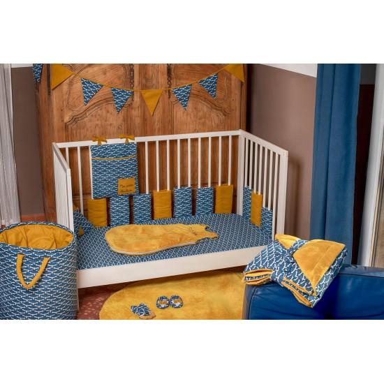 Drap housse 60 x 120 cm imp. oiseaux indigo - Draps et parures de lit par BB&Co
