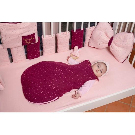 Drap housse 60 x 120 cm double gaze blush uni - Draps et parures de lit par BB&Co