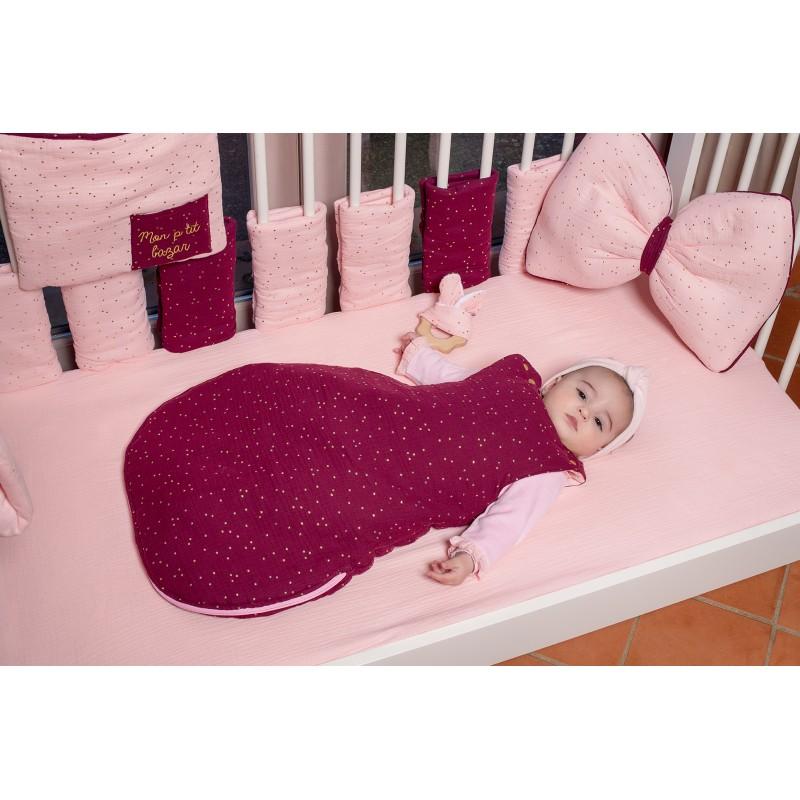 Drap housse 70 x 140 cm double gaze blush uni - Draps et parures de lit par BB&Co