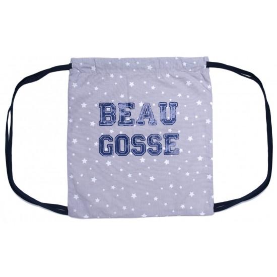 """Sac à dos """"Beau Gosse"""" étoiles gris/bleu - Sacs enfants par BB&Co"""