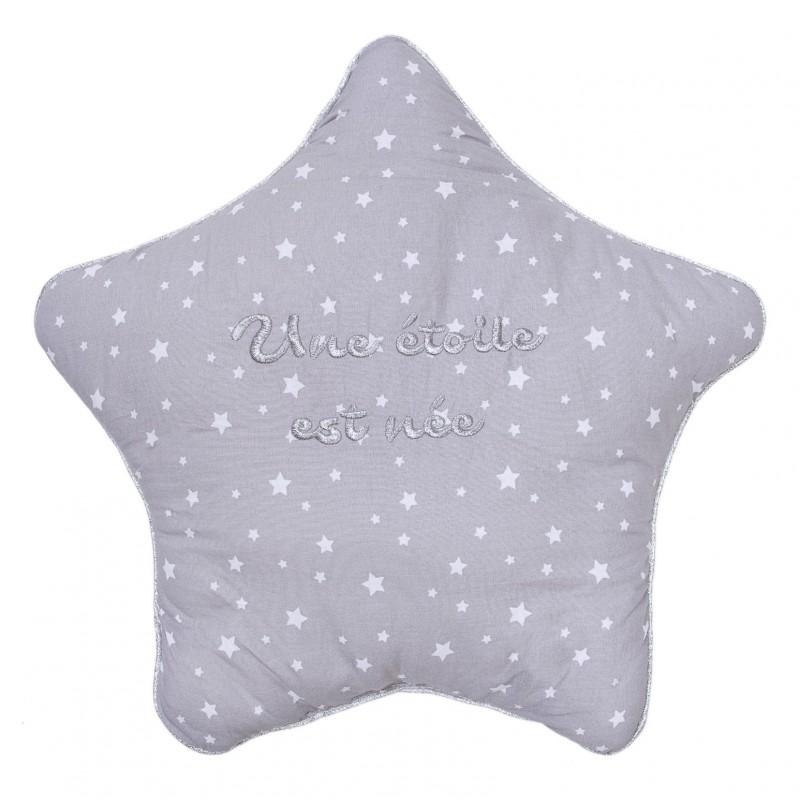 """Coussin déco réversible étoile """"Une étoile est née"""" gris / blanc - Coussins déco par BB&Co"""