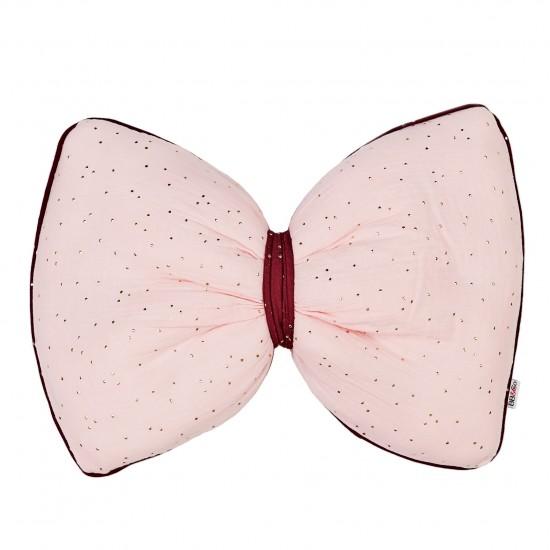 Coussin déco nœud rose Girly Chic blush/prune pois or - Coussins déco par BB&Co