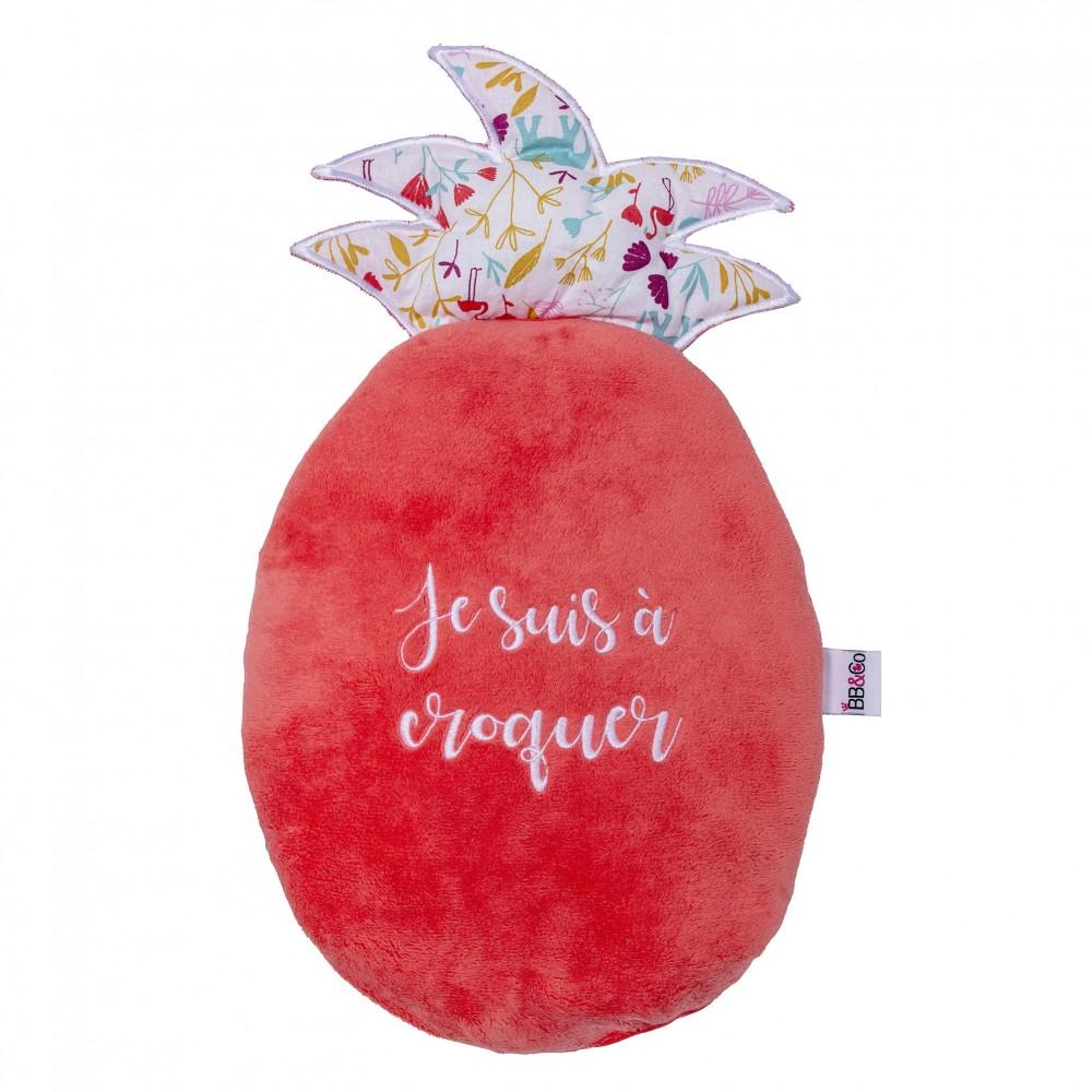 Coussin déco forme ananas imp. exotic / grenadine - Coussins déco par BB&Co
