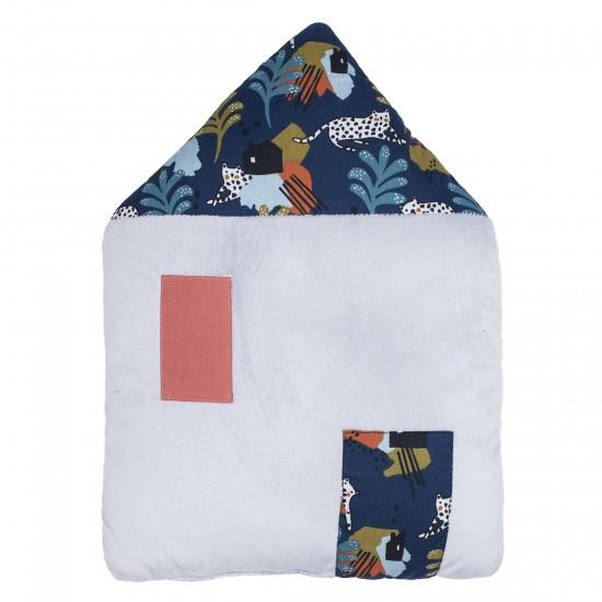 Coussin déco forme maison Little Savane gris/imprimé savane - Coussins déco par BB&Co