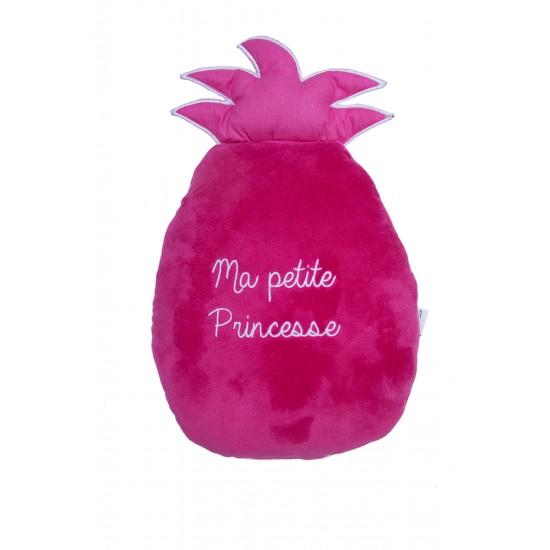 Coussin déco réversible forme ananas Tropical Princess imp. exotique / rose - Coussins déco par BB&Co