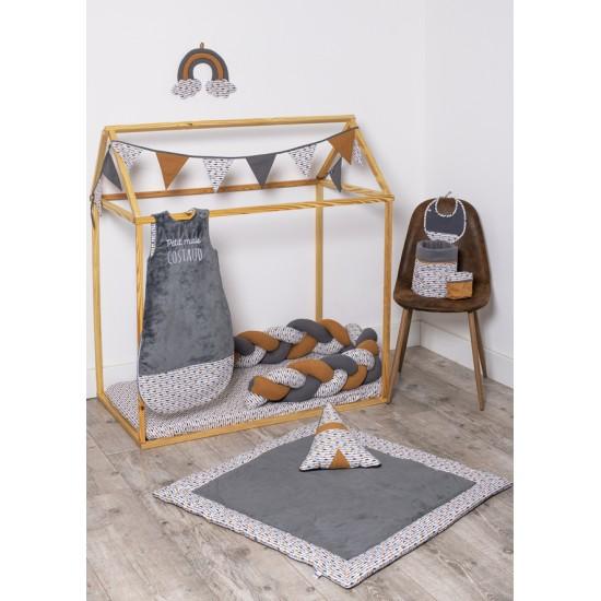 Guirlande fanions Honeymoon coton gris/blanc/camel - Guirlandes et décoration murale par BB&Co