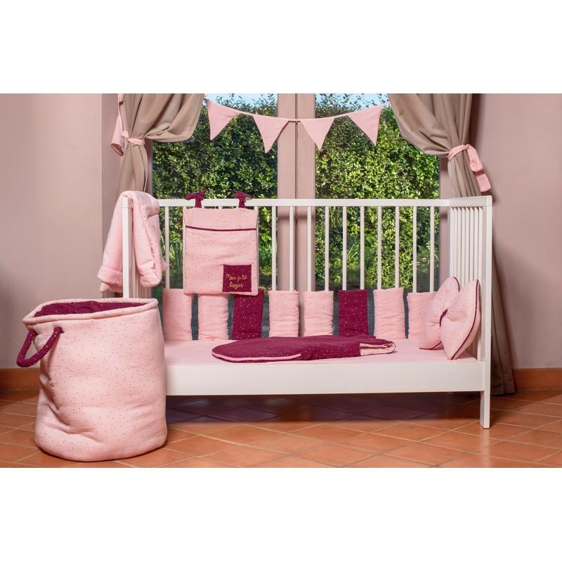 Guirlande fanions coton Girly Chic rose blush pois or - Guirlandes et décoration murale par BB&Co