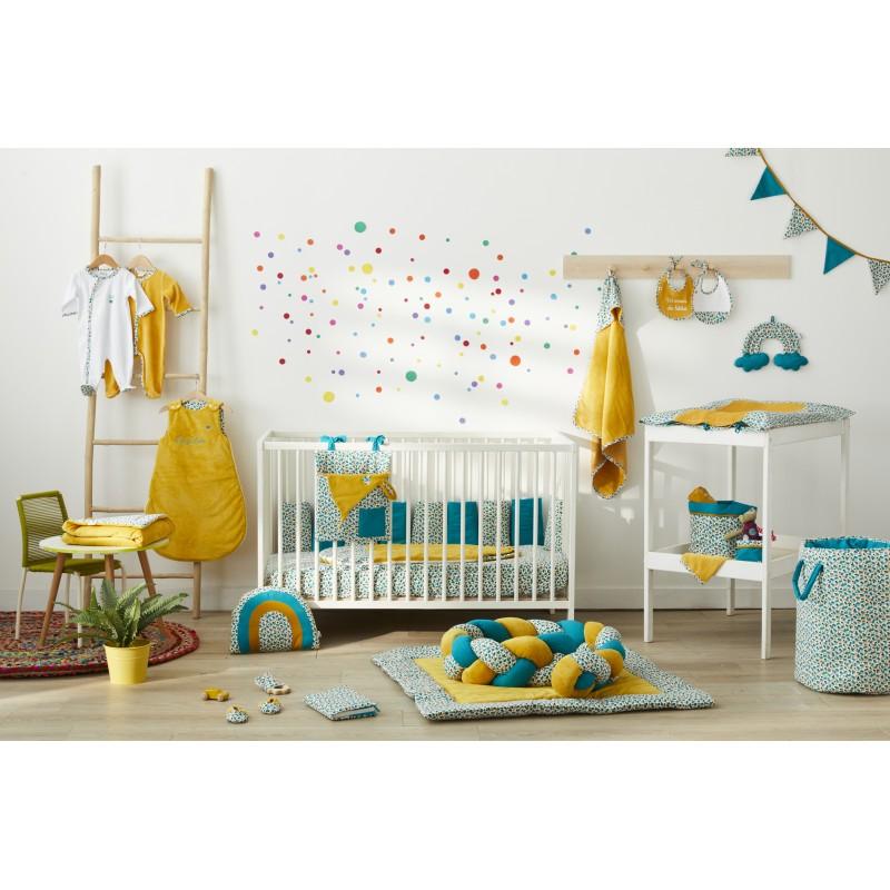Guirlande fanions coton (longueur 250 cm) multicolore/émeraude/ocre Baby Pop - Guirlandes et décoration murale par BB&Co