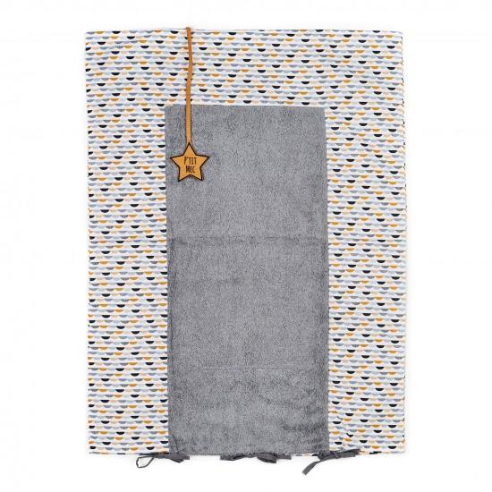 Housse de matelas à langer gris/blanc/camel - Housses de matelas à langer par BB&Co