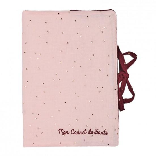 Protège carnet de santé Girly Chic rose blush/prune pois or - Protège-carnet de santé par BB&Co