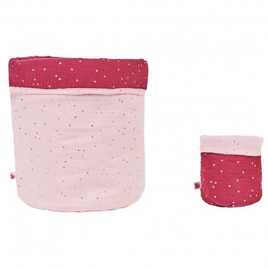 Set Corbeilles de rangement Girly Chic blush/prune pois or - Corbeilles de rangement par BB&Co