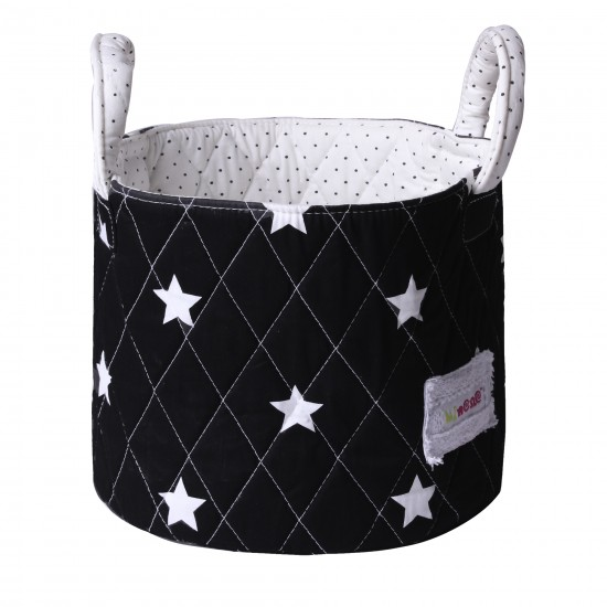 Petit panier rangement noir/blanc étoiles - Corbeilles de rangement par Minene