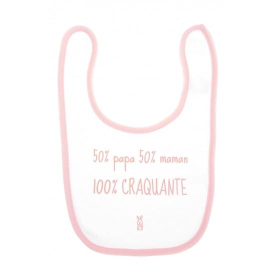 """Bavoir """"50% papa 50% maman 100% craquante"""" blanc/rose - Bavoirs bébé par BB&Co"""