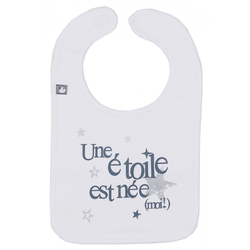 """Bavoir """"Une étoile est née (moi!)"""" blanc/gris - Bavoirs bébé par BB&Co"""