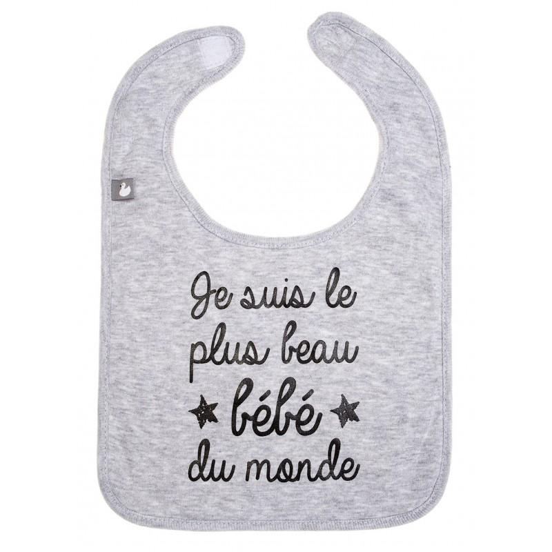 """Bavoir """"Je suis le plus beau bébé du monde"""" gris chiné - Bavoirs bébé par BB&Co"""
