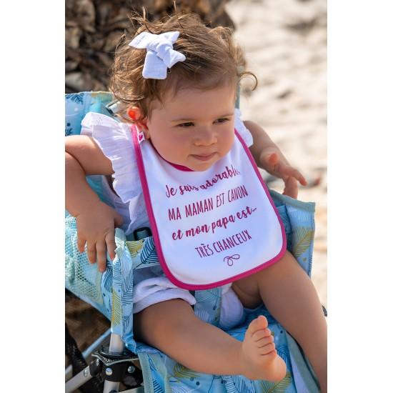 """Bavoir """"Je suis adorable, maman est canon…"""" blanc/fushia - Bavoirs bébé par BB&Co"""