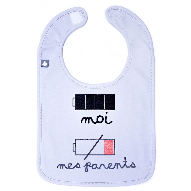 """Bavoir """"batteries"""" gris clair - Bavoirs bébé par BB&Co"""