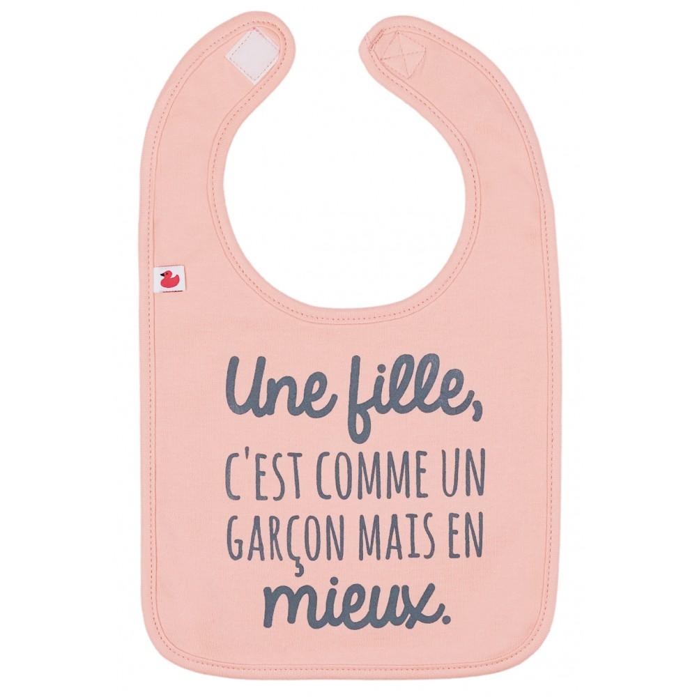 """Bavoir """"Une fille, c'est comme un garçon mais en mieux"""" pêche - Bavoirs bébé par BB&Co"""