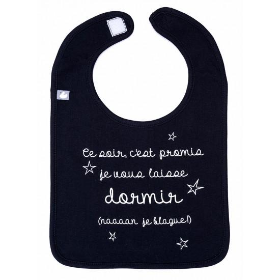 """Bavoir """"c'est promis je vous laisse dormir"""" noir - Bavoirs bébé par BB&Co"""