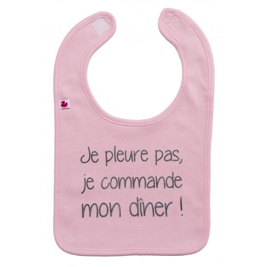 """Bavoir """"Je pleure pas, je commande mon dîner"""" rose pastel - Bavoirs bébé par BB&Co"""
