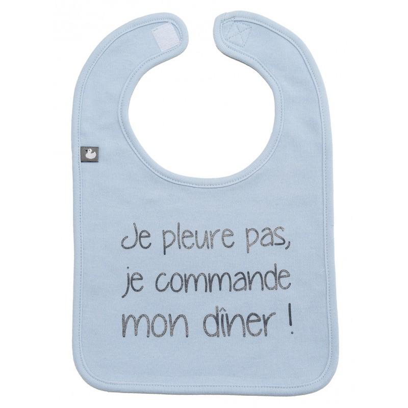 """Bavoir """"Je pleure pas, je commande mon dîner"""" bleu ciel - Bavoirs bébé par BB&Co"""