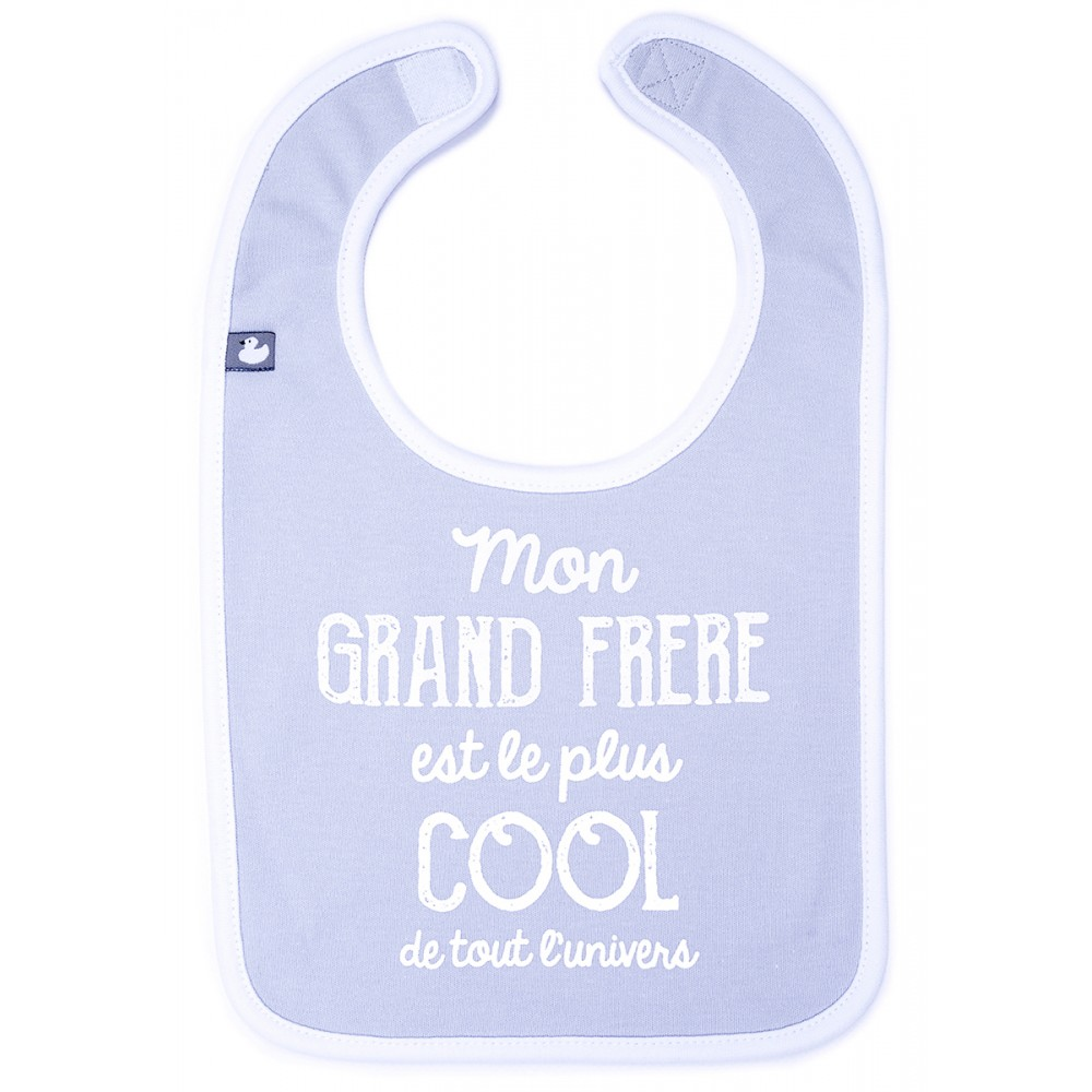 """Bavoir """"Mon grand frère est le plus cool"""" gris clair/blanc - Bavoirs bébé par BB&Co"""